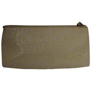 Fendi White F Embossed Print Zucchino Cosmetic Bag